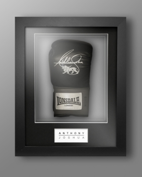 Anthony Joshua Signed Black Portrait Boxing Glove In Our Elegance Box Frame
