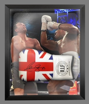 Anthony Joshua Vs klitschko Signed Union Jack Boxing Glove In A Dome : AJ - A