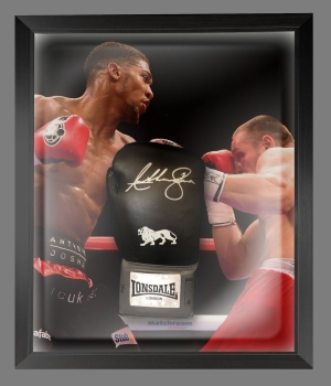 Anthony Joshua Signed Black Boxing Glove Presented In A Dome Frame : B