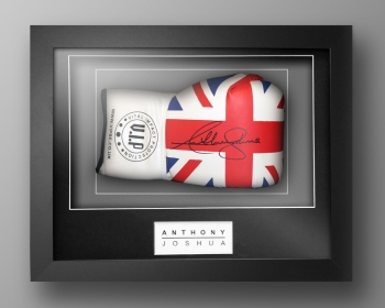 New Anthony Joshua Signed Union Jack VIP Boxing Glove In Our Elegance Box Frame