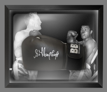 Henry Cooper Signed Black Boxing Glove Presented In A Dome Frame