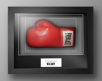 Cassius Clay Muhammad Ali Signed Boxing Glove In Box Frame: Online Authentics