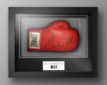 Muhammad Ali Signed Boxing Glove In A Box Frame: Massive Signature: OA : B