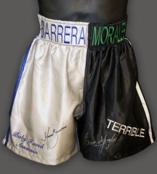 Marco Antonio Barrera and Erik Morales Signed Custom Made Boxing Trunks A