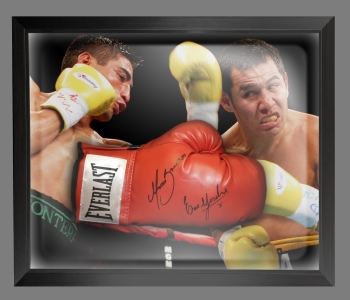 Marco Antonio Barrera and Erik Morales Signed Boxing Glove In A Dome Frame B