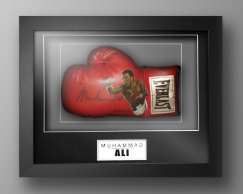 Muhammad Ali Signed Painted Boxing Glove In A Box Frame: Online Authentics : I