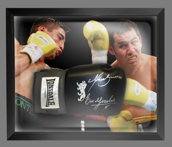 Marco Antonio Barrera and Erik Morales Signed Boxing Glove In A Dome Frame A