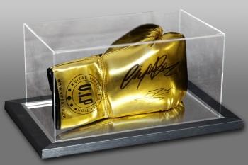 Conor Benn & Nigel Benn Dual Signed Gold VIP Boxing Glove In An Acrylic Case