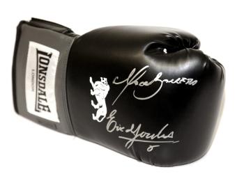 Marco Antonio Barrera and Erik Morales Dual Signed Black Boxing Glove