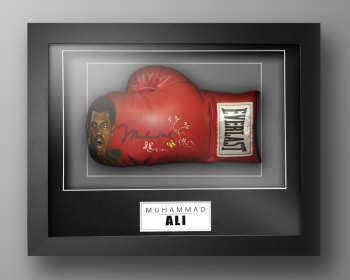 Muhammad Ali Signed Painted Boxing Glove In A Box Frame: Online Authentics : D
