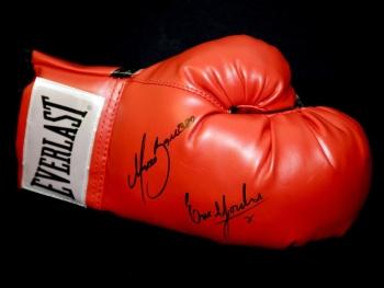 Marco Antonio Barrera and Erik Morales Dual Signed Red Boxing Glove.