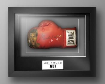 Muhammad Ali Signed Painted Boxing Glove In A Box Frame: Online Authentics : A