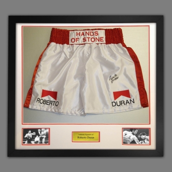 Roberto Duran Signed And Framed White And Red Custom Made Boxing Trunks
