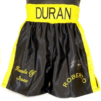 Roberto Duran Hand Signed Replica Custom Made Boxing Trunks : B