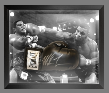 Mike Tyson Signed Black Boxing Glove Presented In A Dome Frame