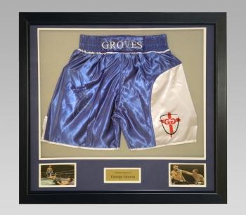 George Groves Signed Trunks In A Framed Presentation : B