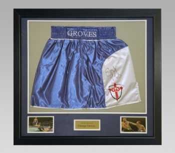 George Groves Signed Trunks In A Framed Presentation : A