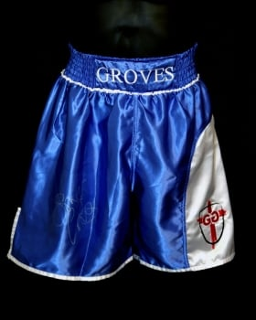George Groves Signed Custom Made Boxing Trunks : Signed in Silver