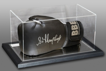 Henry Cooper Signed Black Boxing Glove In An Acrylic Case