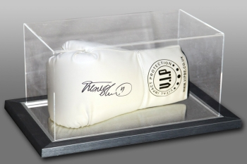 Frank Bruno Signed White VIP Boxing Glove In An Acrylic Case