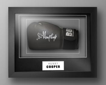 Henry Cooper Signed Black Boxing Glove In Our Elegance Box Frame