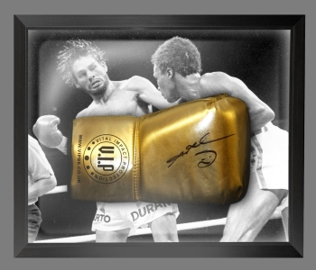 Sugar Ray Leonard Signed And Framed Gold Boxing Glove
