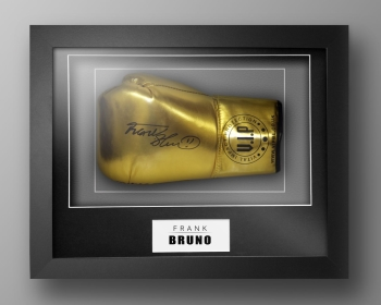 Frank Bruno Signed Gold VIP Boxing Glove Presented In Our Elegance Box Frame