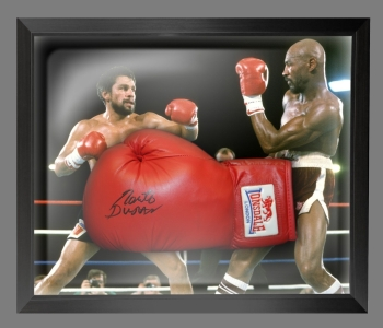 Roberto Duran Hand Signed Red Everlast Boxing Glove In A Dome Frame : B
