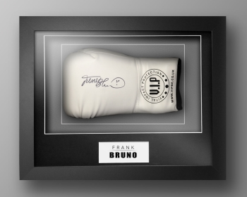 Frank Bruno Signed White Vip Boxing Glove Presented In Our Elegance Box Frame
