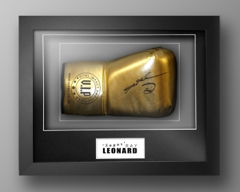 Sugar Ray Leonard Signed Gold VIP Boxing Glove In Our Elegance Box Frame