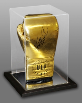 Frank Bruno Signed Portrait Gold VIP Boxing Glove In An Acrylic Case