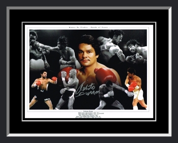 Roberto Duran Signed And Framed Boxing Montage.
