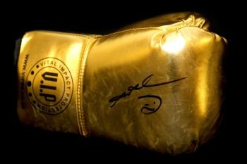 Sugar Ray Leonard Signed Gold Vip Boxing Glove