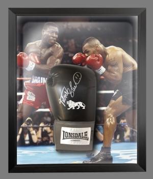 Frank Bruno Signed Black Portrait Boxing Glove Presented In A Dome Frame