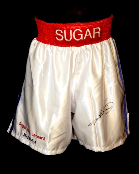 Sugar Ray Leonard Signed Custom Made Replica Boxing Trunks