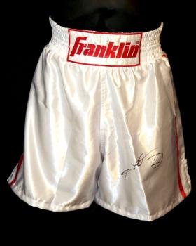Sugar Ray Leonard Signed Franklin Custom Made Replica Boxing Trunks