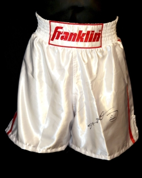 Sugar Ray Leonard Signed Black Custom Made Replica Boxing Trunks