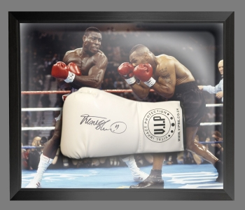 Frank Bruno Signed White Vip Boxing Glove Presented In A Dome Frame