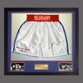 Sugar Ray Leonard Signed And Framed White Custom Made Boxing Trunks