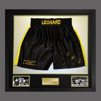Sugar Ray Leonard Signed And Framed Black And Yellow Custom Made Boxing Trunks