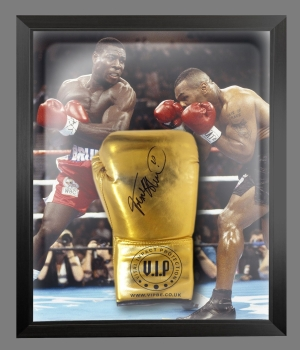 Frank Bruno Signed Gold Vip Boxing Glove Presented In A Dome Frame : B
