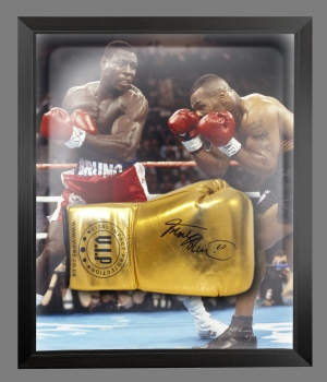 Frank Bruno Signed Gold Vip Boxing Glove Presented In A Dome Frame : A