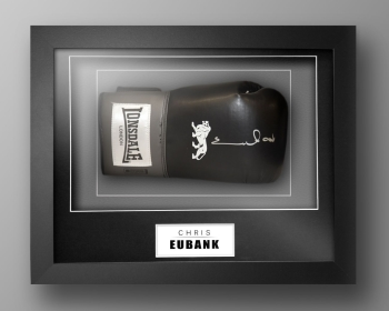 Chris Eubank Signed Black Boxing Glove Presented In Our Elegance Box Frame: A