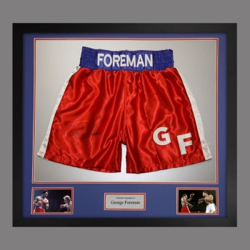 George Foreman Signed And Framed Custom Made Boxing Trunks: A