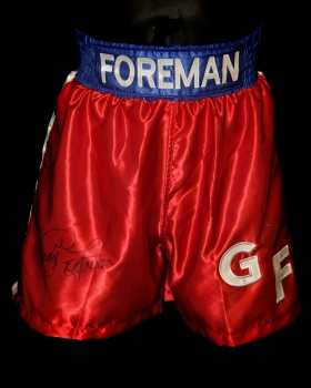 George Foreman Hand Signed Replica Boxing Trunks : A