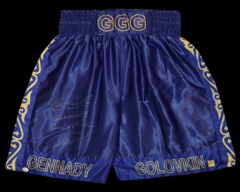 Gennady Golovkin Signed Custom Made Boxing Trunks : Online Authentics  : B