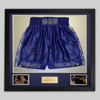 New Gennady Golovkin Signed And Framed Custom Boxing Trunks: Online Authentics:A