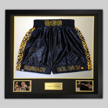 New Gennady Golovkin Signed And Framed Custom Boxing Trunks: Online Authentics:B