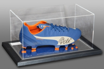 Pele Signed Blue Puma Football Boot Presented In An Acrylic Case