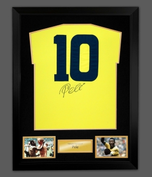 Pele Signed Brazil Replica Football Shirt In A Frame. Signed On Back
